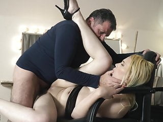 Teen on her knees sucking on grandpa cock taking facial cums
