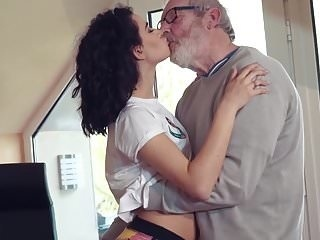 Cute Teen Fucked by Big Cock Grandpa Cums in her mouth